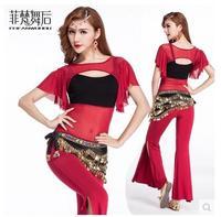 Belly Dance Costume Set Oriental Dance Costumes 2017Spring Short Sleeve Practice Costume Service Dance Costume Belly