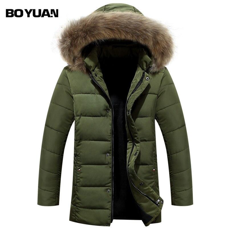 Boyuan Kış Ceket Erkekler Kış Palto 2016 erkek Kış Ceket Ile bir Başlık Rakun Kürk Kalın Erkek Parka Hombre Ceket Erkekler Y1158