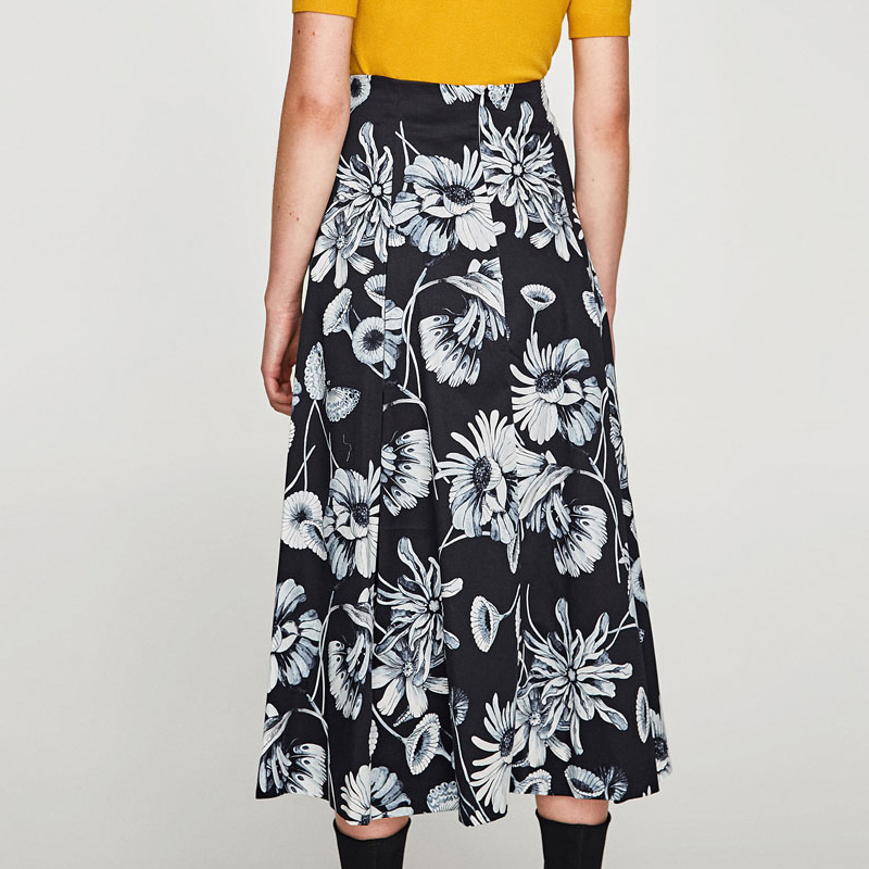 1e5d295829 2018 New Satin Women 100cm High Waist Flared Maxi Skirts Peach Blossom  Printed Pleated Floor Length Long Skirts 9820-in Skirts from Women's  Clothing on ...