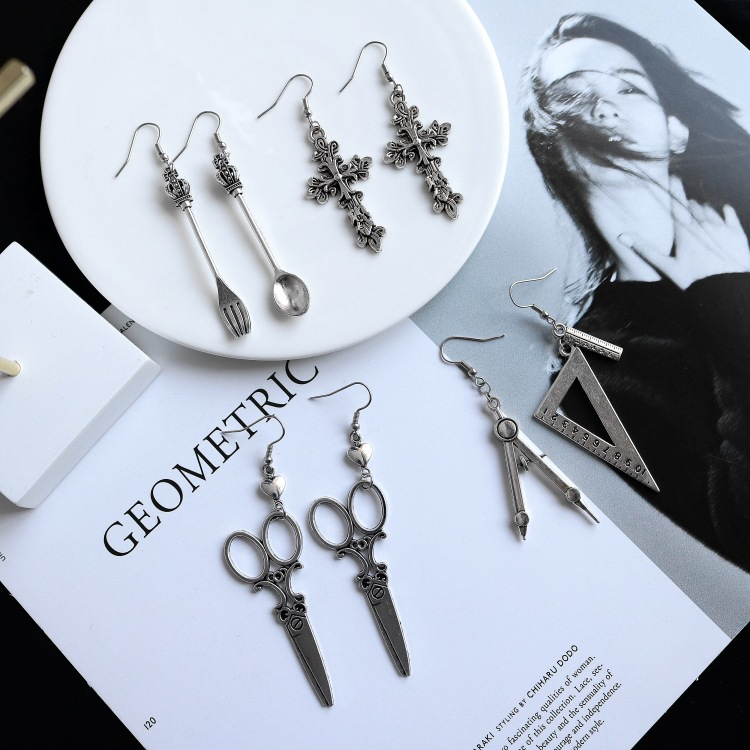 Retro Silver Harajuku Sexuality Personality Earrings Spoon Fork Triangle Ruler Scissors Earrings spoon fork shaped keychain with smile expression silver pair