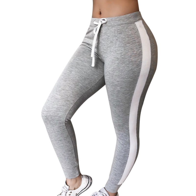 Mujeres Contraste Raya Lateral 2 Elastico Largo Completo Fitness Leggings Pantalones Ajustados Control Ar Com Ar