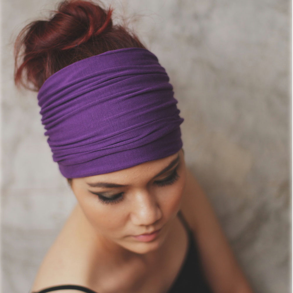 Solid Wide Cotton Sports Yoga Headbands For Women Adult Girls Reversible Elastic Hairbands Turban Hair Accessories Headwear
