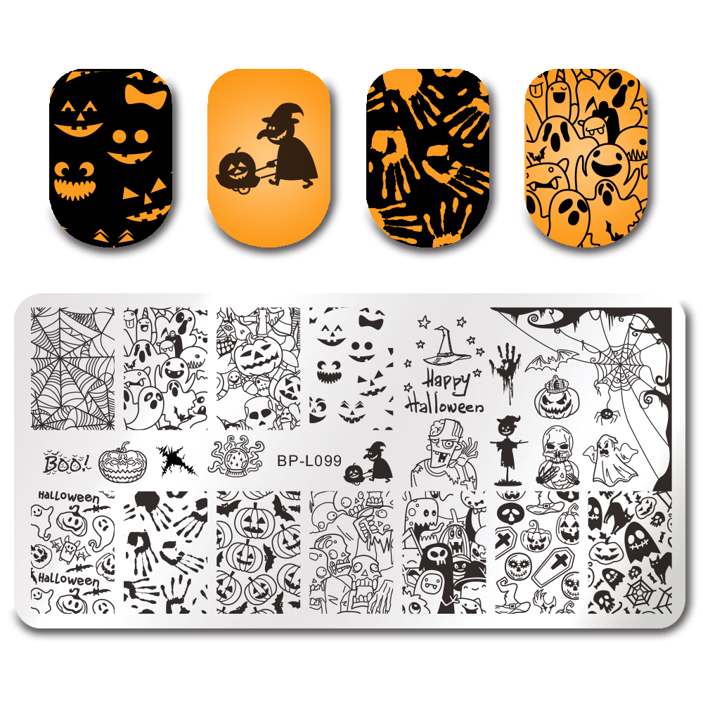 BORN PRETTY Halloween Nail Art Stamping Rectangle Template Pumpkin ...