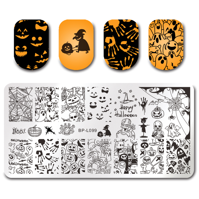 born pretty halloween nail art stamping rectangle template pumpkin ghost skull nail image stencil plate bp - Halloween Art Templates