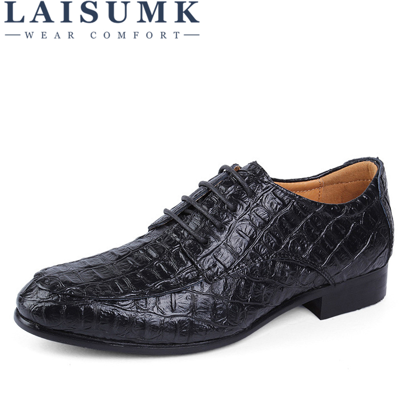 LAISUMK Brand Genuine Leather Oxford Shoes For Men Business Men Crocodile Shoes Men's Dress Shoes Plus Size Wedding Shoes Man
