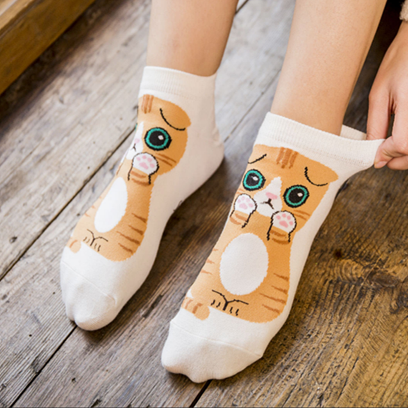 2019 New Fashion Cute Animal Cotton Socks Female Kawaii Summer Short Socks Slippers Women Casual Soft Funny Boat Socks