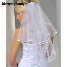 цена на White Ivory Bridal Veil 1.5 Meters Bridal Veil Bridesmaid Bride Wedding Veil Tulle with Comb Ribbon Edge 2 Layers simple cheap
