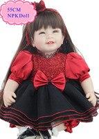 En iyi Fiyat Ile 55 cm 22 '' Silikon Reborn Bebekler Kırmızı High End tasarım Bebek Bebek Giysileri Toptan Reborn Yürümeye Başlayan Bebekler Kız Oyuncak Olarak