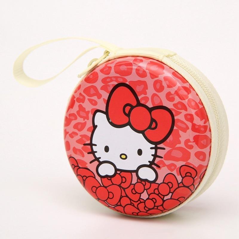 Hello Kitty Cartoon Coin Purse Candy Color Children's Wallet Earphone Organizer Storage Box Headset