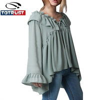 Chiffon Ruffle Blouse Long Sleeve Women 2017 Vintage Flare Sleeve Casual Front Bow Tie Tops Loose