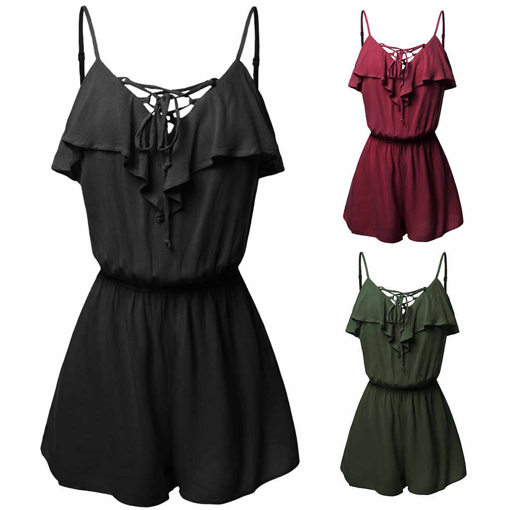 5Large Size rompers womens jumpsuit shorts Casual Sleeveless Overlap Front Frill Detail Jumpsuit Trousers combinaison fe#5
