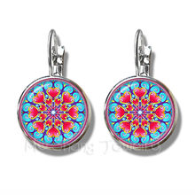 Classic Indian Henna Yoga Earrings Om Symbol Buddhism Zen Colorful Mandala Flower Silver Plated Stud Earrings For Women(China)
