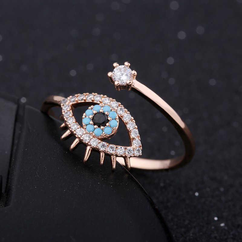 MIGGA élégant bleu mauvais œil cubique zircone Bague femmes filles Hamsa bijoux or Rose couleur ouverture Bague