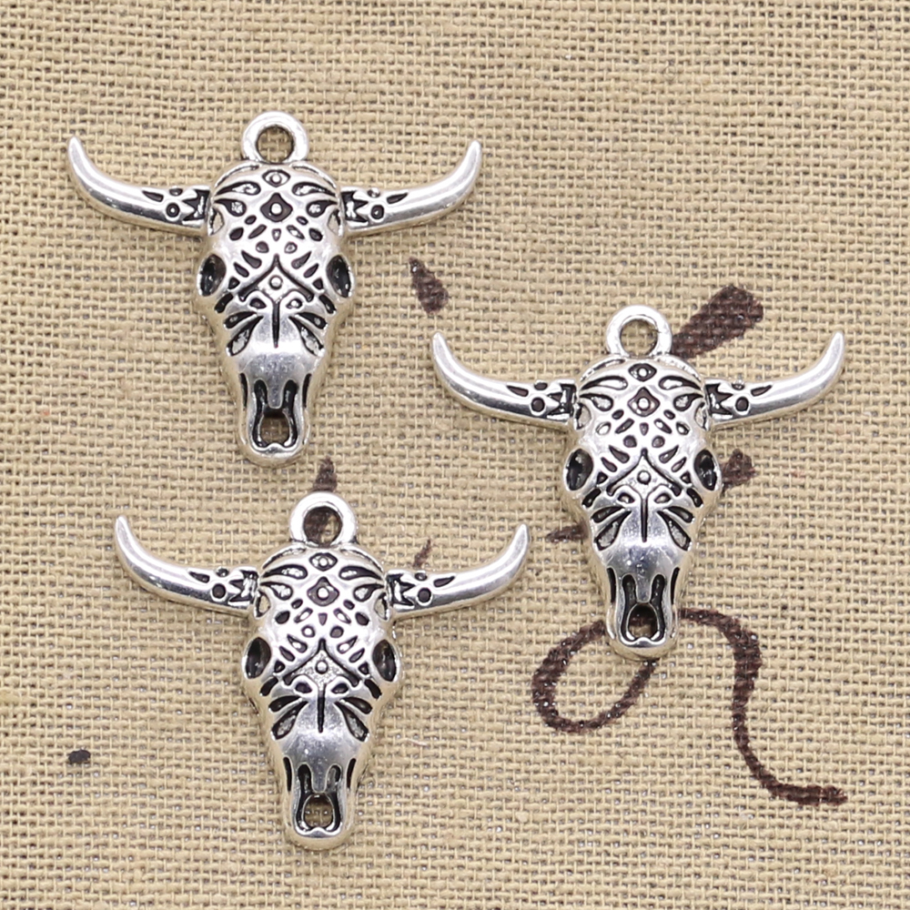 2 x Large Tibetan Silver Cow//Bull Ox Head Skull Charms Pendants Jewellery Making