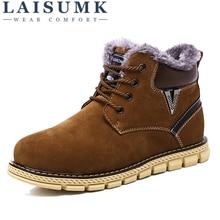 LAISUMK Winter Fashion MenS Snow Boots Suede Casual Men Lace Up Shoes Warm Male Ankle Simple Korean Solid Color Footwear