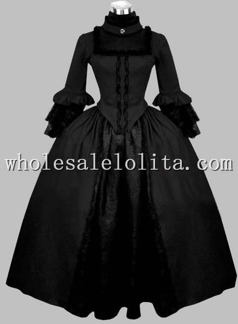 Готический Черный Бархат Викторианской Эпохи Dress Хэллоуин Бал-Маскарад Тема Костюм - Цвет: Черный