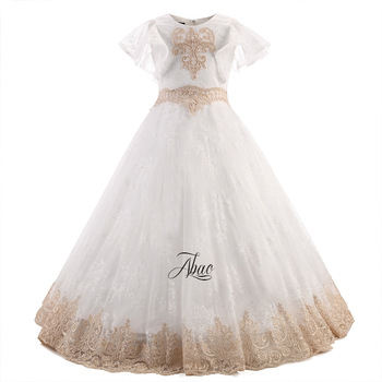 ZMJ0204 Europe and America New Fashion Palace all lace shawls Ponchos flowers Children's Wedding Dress Ball Gown Girls Dress