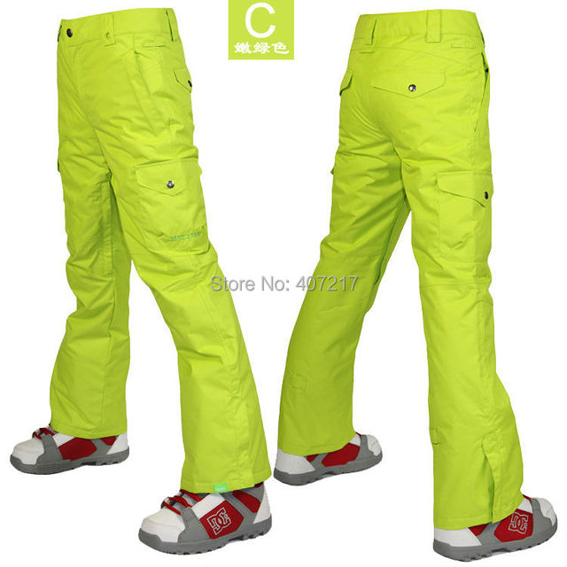 c63441993c3 2014 womens yellow green ski pants ladies lime snowboarding pants outdoor  sports skating pants ski jupon waterproof breathable