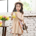 Brand vestidos 2016 design 100% cotton breathable knee-length summer casual apricot dress baby girl clothes 3 4 5 6 8 10 years