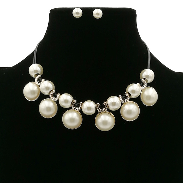 bdfdcec3808d01 Luxury Big Exaggerated Simulated Pearl Necklaces For Women Rhinestone  Crystal Short Black Leather Chain Necklace earrings Set