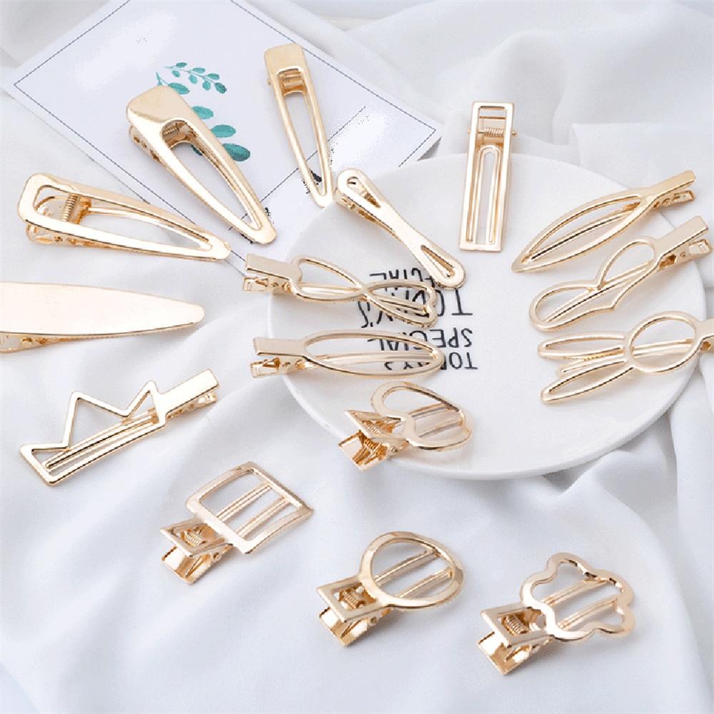 Luxury Geometric DIY Gold Hollow Metal Hairpins Women Girls Korean Geometric Rabbit Heart Barrettes Hair Clips Hair Accessories