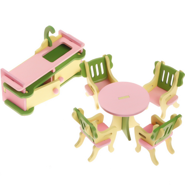 6pcs/set 1:16 Dollhouse Wooden Miniature Creative Furniture Kitchen  Accessory Desk Chair Cabinet