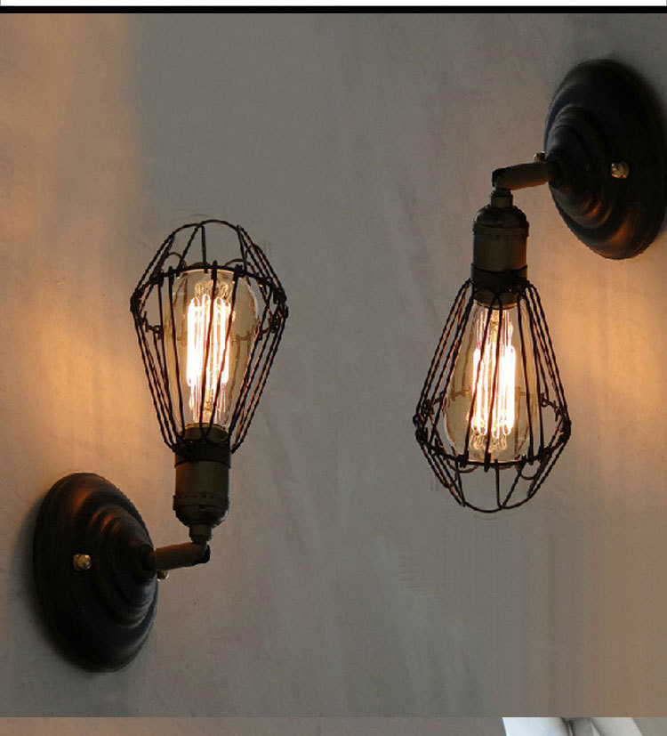 Loft Vintage Metal Coffee Bar Wall Lights Black Metal Bulb Tube Balcony  Ajustable Wall Sconces Country
