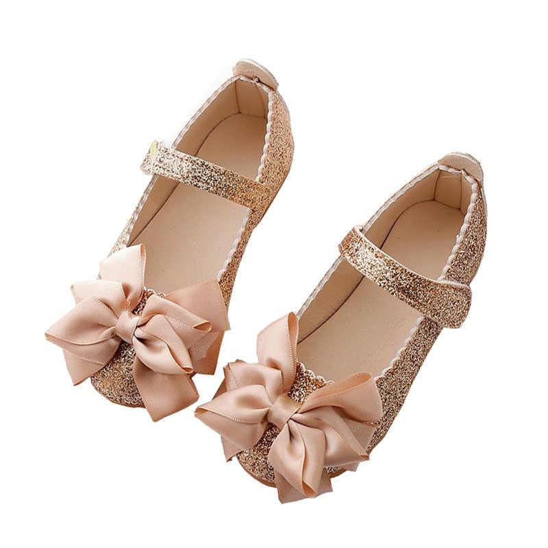 c11d6b42170 Flores niños pequeños bebé niña niños lentejuelas Bowknot vestido zapatos  para niñas escuela oro fiesta y