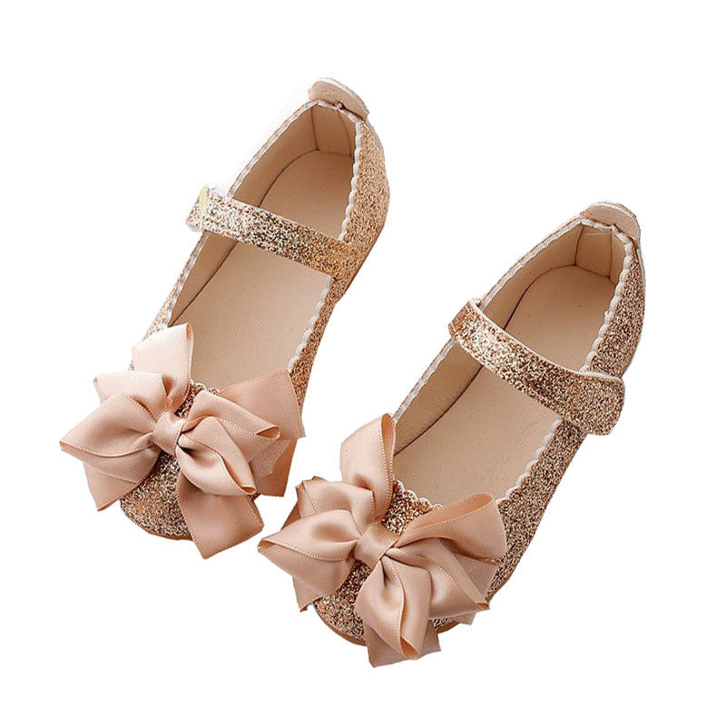 Minisoya Children Kids Baby Girls Rhinestone Princess Flats Toddler Cute Bowknot Casual Formal Party Shoes