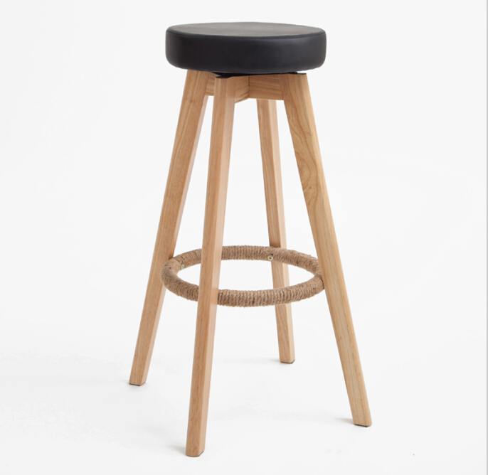 Wooden Swivel Bar Stools Modern Natural Finish Round Leather Foam Seat Backless Indoor Coffee Cafe Bar Furniture Chair Inch