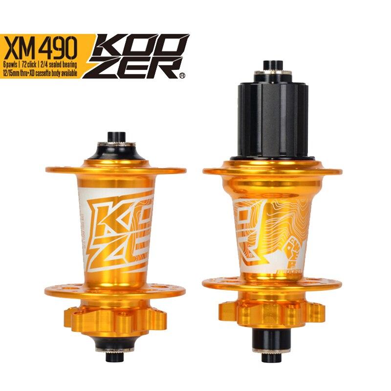 Koozer XM490 ensemble de moyeu avant arrière 2/4 roulements 32 trous dégagement rapide à travers l'essieu ultra-léger 640 g/paire 120 moyeux de VTT clic