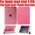 10pcs/Lot PU Leather Case for ipad mini 4 3 2 2in1 Magnetic Smart Cover + Plastic translucent case For ipad Mini 4/3/2 IM404