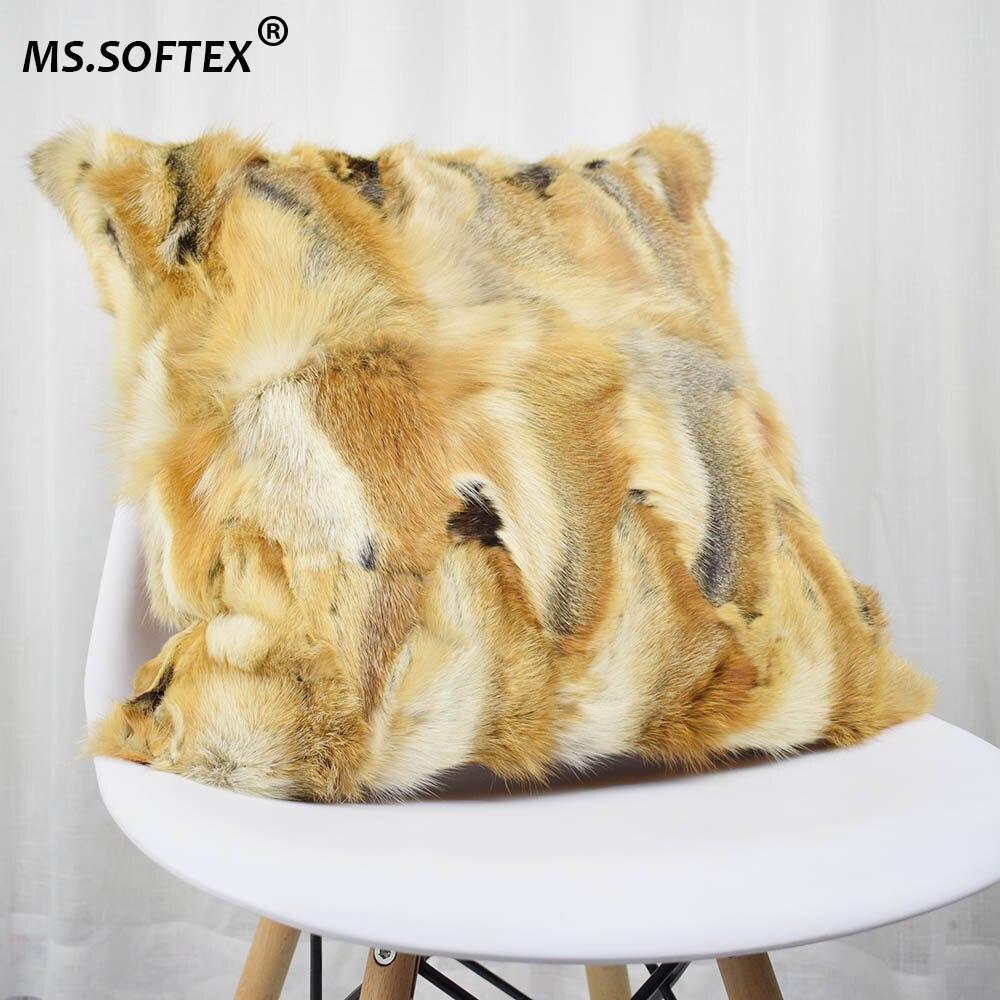 MS. Softex натуральный Fo меховая наволочка натуральным лисьим мехом кожура Подушка плюшевая меховая наволочка из настоящего меха и дома, беспла...