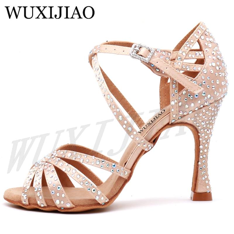 WUXIJIAO Women Party Dance Shoes  Satin Shining rhinestones Soft Bottom Latin Dance Shoes Woman Salsa Dance Shoes heel5CM-10CM 1