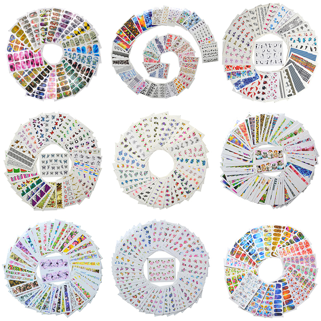 Wholesale Mixed 2020 Newest Designs Watercolor Floral Flower Sticker Nail Decal Set for Gel Manicure Decor Water Slider Foil Set