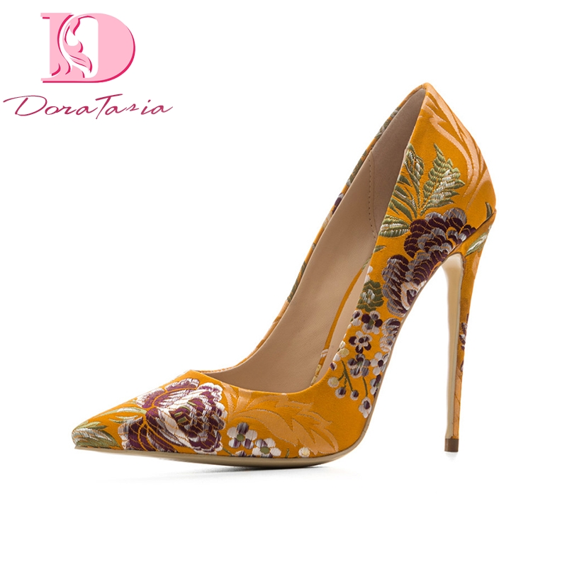 DoraTasia New women's Silk Thin High Heels Print Pointed Toe Flower Shallow Shoes Woman Casual Pumps Plus Size 33-45 doratasia embroidery big size 33 43 pointed toe women shoes woman sexy thin high heels brand pumps party nightclub