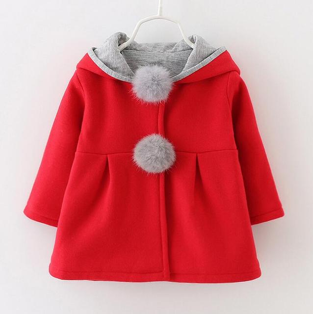 Novo 2016, moda bebê menina jaquetas, casaco meninas do bebê, hoodies dos desenhos animados, crianças de coelho outerwear, roupas de inverno, linda menina outcoat