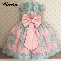 Princess Beads   Flower     Girl     Dresses   with Bow   Girls   Pageant Gowns For Weddings First Communion   Dresses   For   Girls   Vestidos Daminha