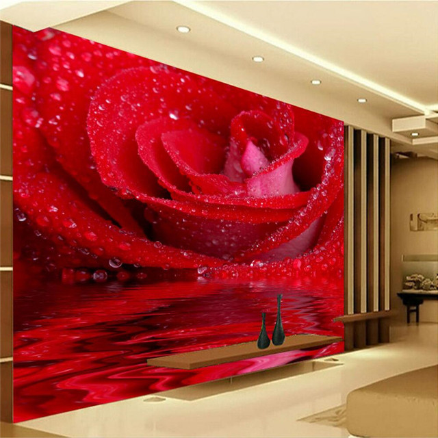 mural wallpaper for living room hd rose water droplets flowers wall paper bedroom background sofa modern - Bedroom Background