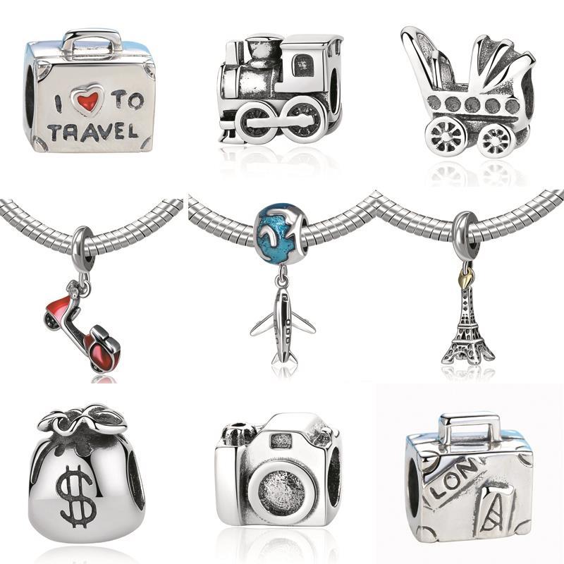 New 925 Sterling Silver Charm Bead Plane Travel Camera Eiffel Tower Beads Fit Pandora Original Bracelet charm DIY Jewelry Gift