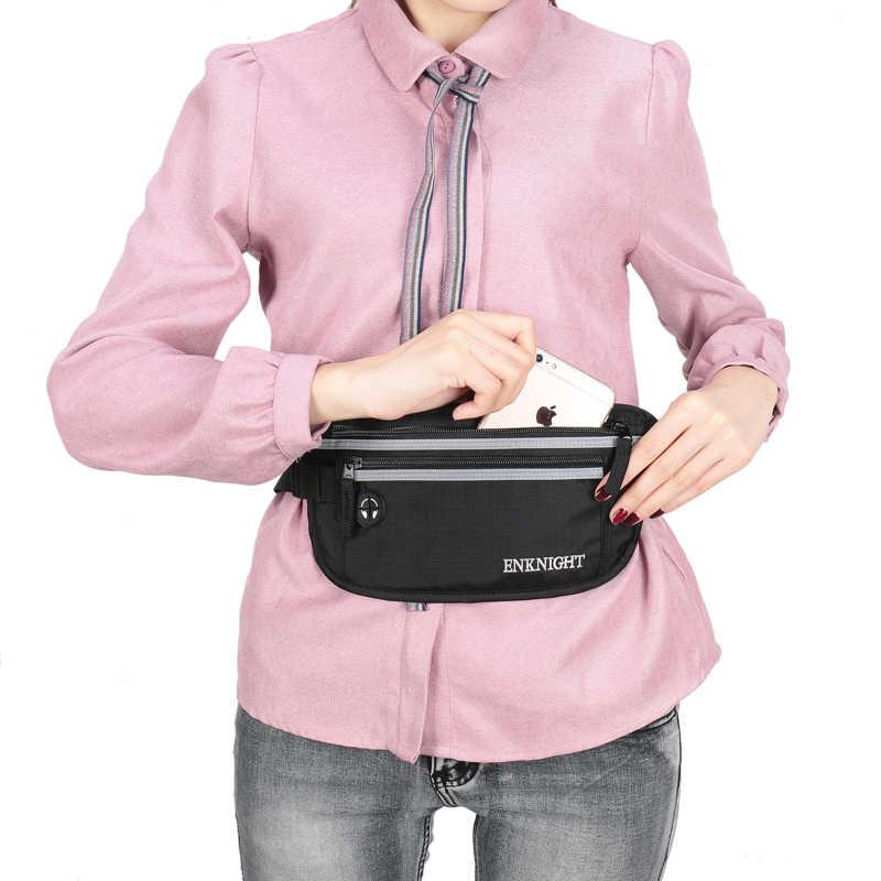 ENKNIGHT Big RFID Money Belt for Travel Waist Pack Bag Women Men Adjustable Fanny Card Anti-theft Pack Plaid Zip Pockets Beg