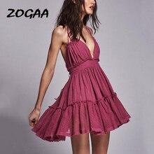 ZOGAA Womens Summer Boho Chic Dress Bohemian Halter Ruffle A-line Sundress Sexy Backless V-neck Beach Holiday Girl Robe Vestido