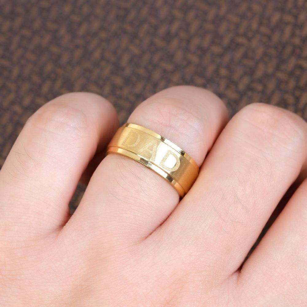 DoreenBeads Stainless Steel Gold Color Unadjustable Finger Rings Men ...
