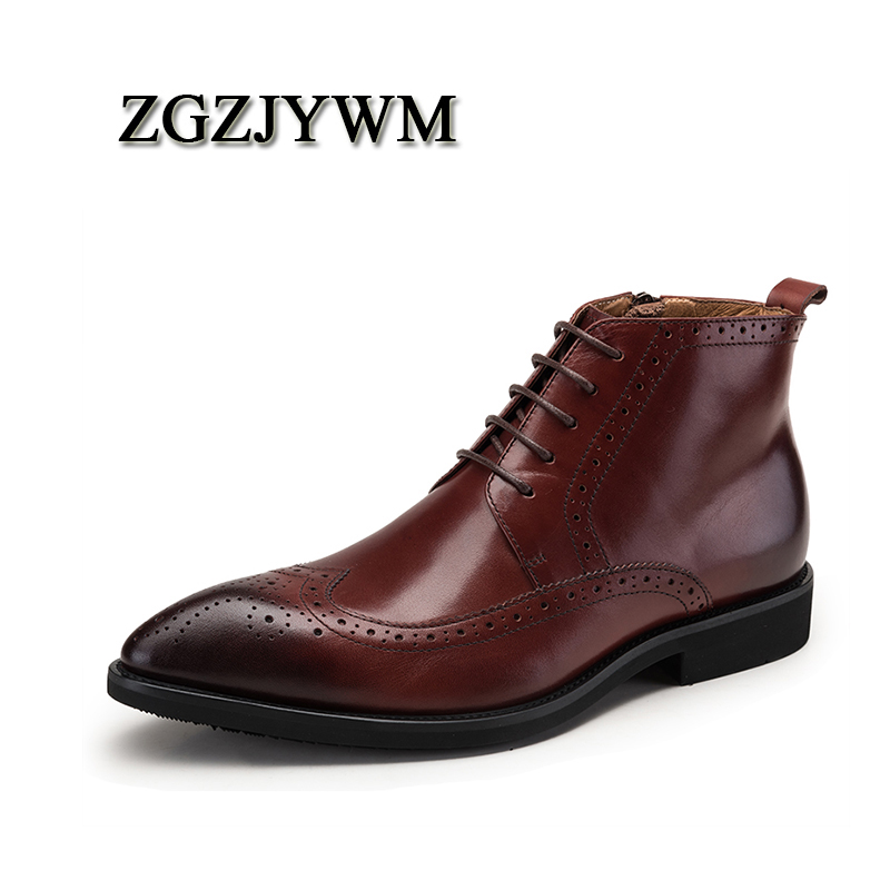 ZGZJYWM High Quality Men Boots Black/Red Lace-Up Ankle Rubber Casual Genuine Leather Classic Business Office Formal Men BootsZGZJYWM High Quality Men Boots Black/Red Lace-Up Ankle Rubber Casual Genuine Leather Classic Business Office Formal Men Boots