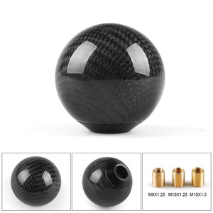Universal Car Gear Shift Knob Shifter Lever Round Ball Shape Real Carbon Fiber