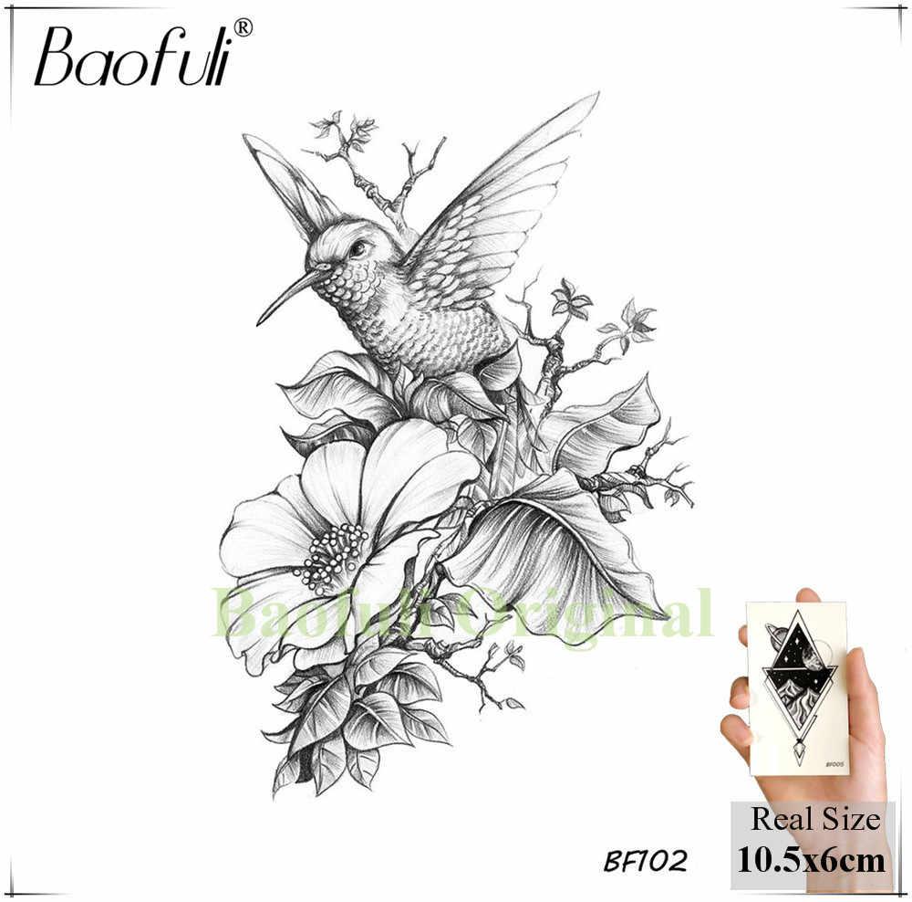 Baofuli Anchor Bird Tattoo Temporary Feather Black Brids Totem Art Tattoo Butterfly Owl Pianting Fake Tatto Women Men Body Arm
