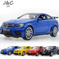 Hot New 1:32 Benz C63 Metal Alloy Diecast Toy Car Model Miniature Scale Model Sound and Light Emulation Electric Car