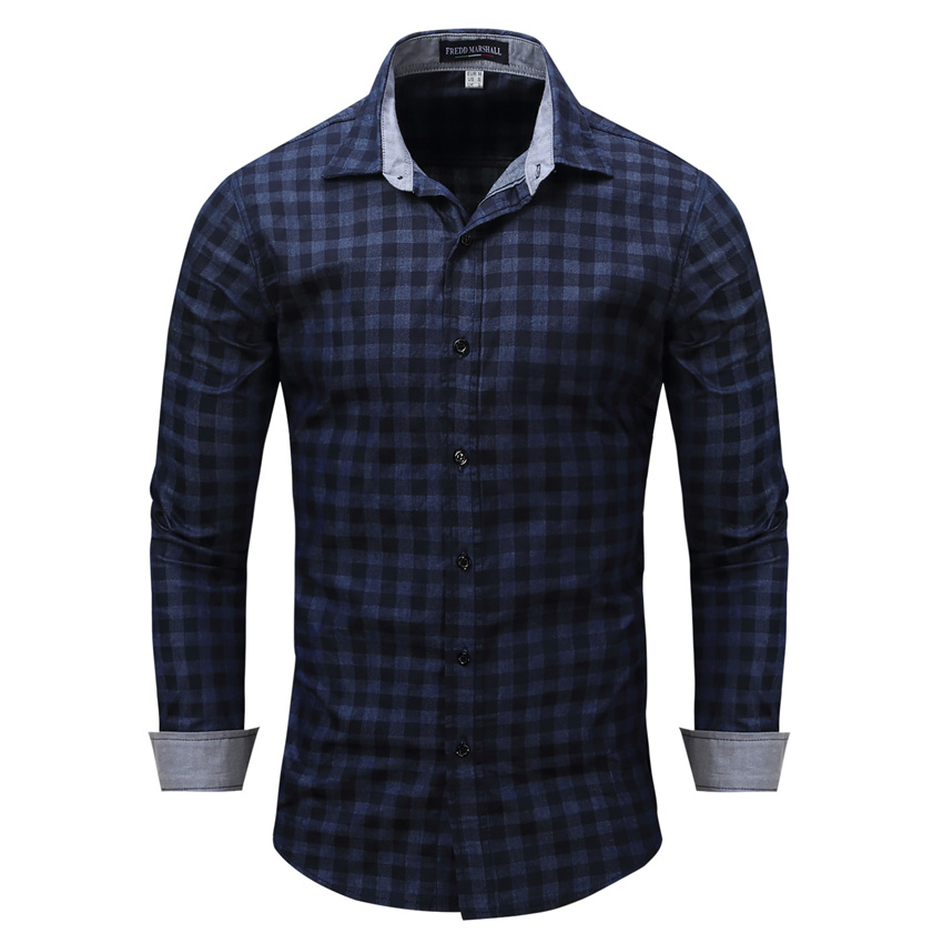 ROSICIL Brand New Arrival Men's Long Sleeve Plaid Shirts Mens Dress Shirt Casual Denim Style Checks Blue Shirts