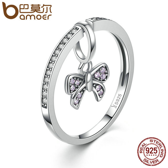 BAMOER Lovely Real 925 Sterling Silver Pink Bow Knot Finger Rings for Women and