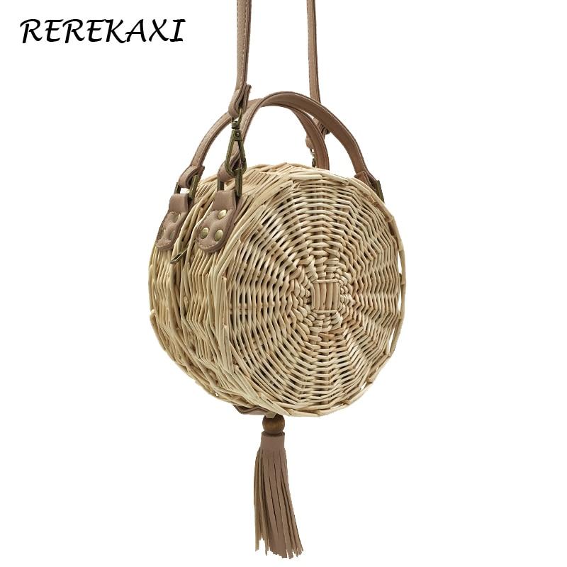 Rattan Weave Round Women Shoulder Bag Fashion Wicker Straw Beach Bags Ladies Tassels Messenger Crossbody Bag Female Handbag Tote все цены